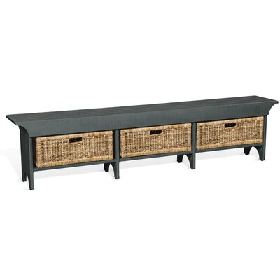 Andrew Wood Bench with Storage Color: Gray