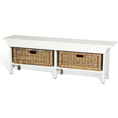 Andrew Wood Bench with Storage Color: White