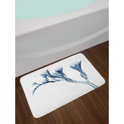 Teal White Flower Bath Rug