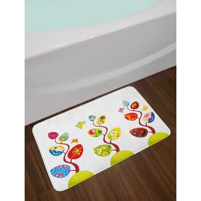 Magical Tree Branches with Diverse Leaves Bath Rug