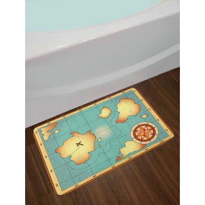 Cream Blue Island Map Bath Rug