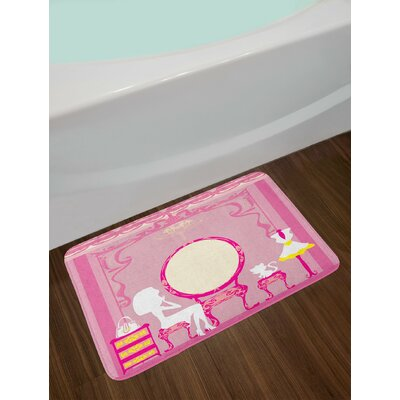 Pink Yellow Girls Bath Rug