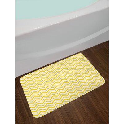 Chevron Geometrical Zig Bath Rug Color: Yellow