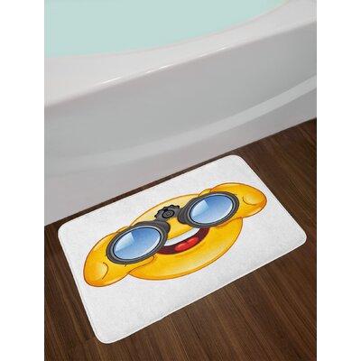 Smiley Yellow and Blue Emoji Bath Rug