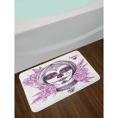 Gothic Violet Purple and White Day Of The Dead Bath Rug