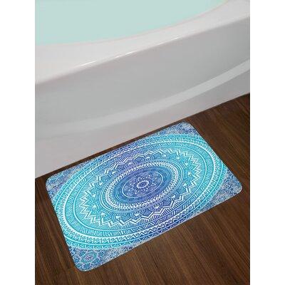 Spiritual Pale Blue Ethnic Bath Rug Color: Blue/Navy