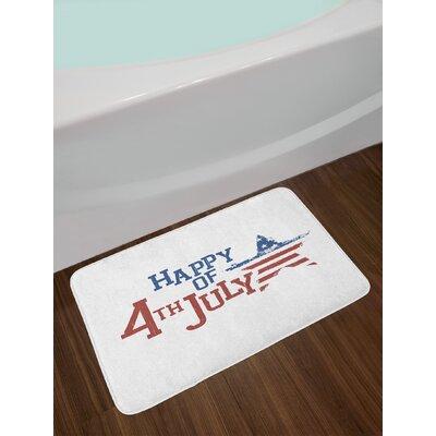 4th of July Grunge Celebration of Independence Day Bath Rug