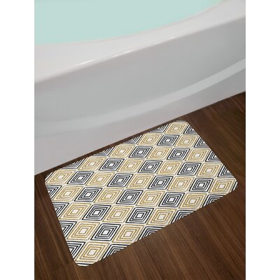 Square Shaped Lines Bath Rug