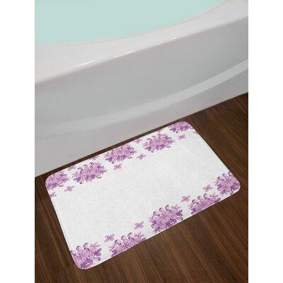 Graphic Lilac Lilac Floral Bath Rug