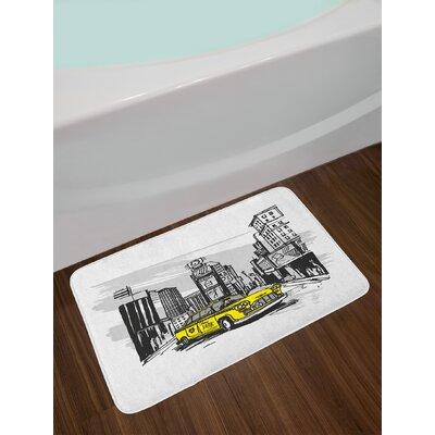 Yellow Sketch Bath Rug