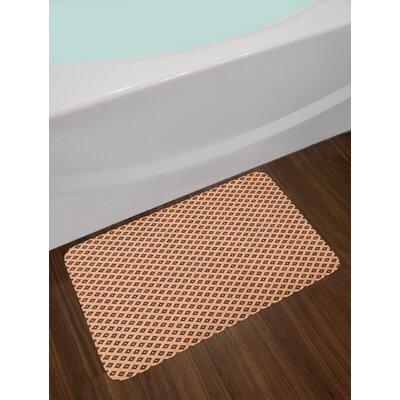 Diagonal Peach Geometric Bath Rug