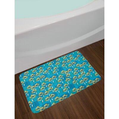 Modern Blue Floral Bath Rug