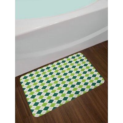 Classical Lime Geometric Bath Rug