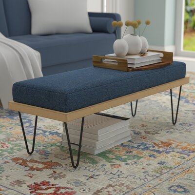 Reavis Upholstered Bench Upholstery: Navy Blue