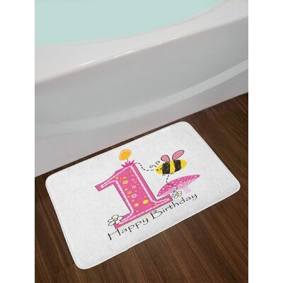 Cartoon Style 1st Birthday Bath Rug