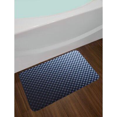 Diagonal Dark Blue Bath Rug
