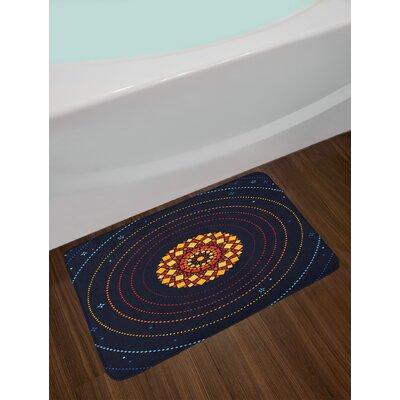 Geometric Dark Blue Bath Rug
