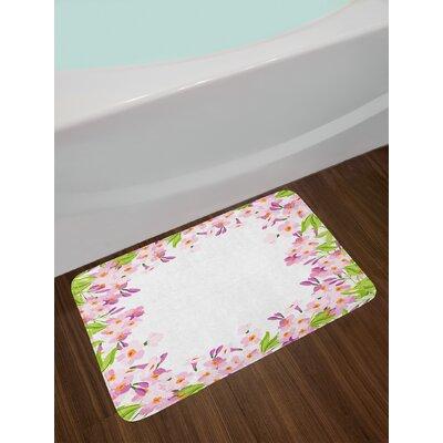 Floral Frame Shabby Elegance Bath Rug
