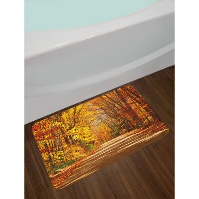 Scenic Redwood Yellow Orange Fall Bath Rug