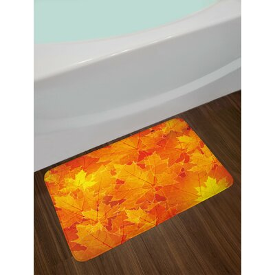 Seasonal Orange Yellow Fall Bath Rug