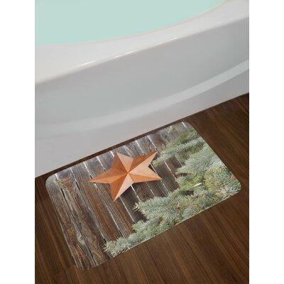 Big Orange Green Brown Primitive Country Bath Rug