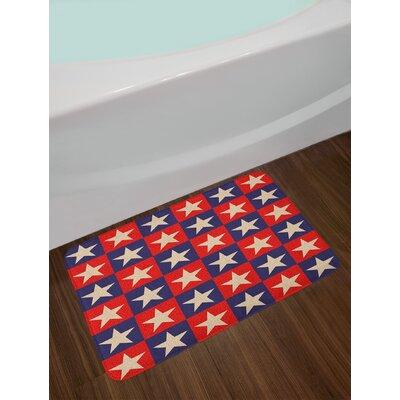 Checkered Cream Navy Red Primitive Country Bath Rug