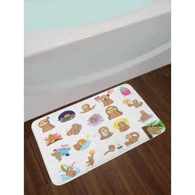 Set Multicolor Sloth Bath Rug