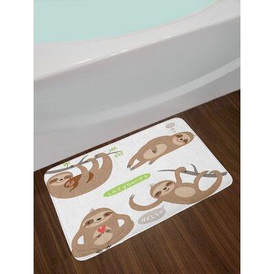 Childish Pale Brown Grey Green Sloth Bath Rug