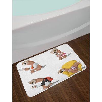 Cartoon Multicolor Sloth Bath Rug