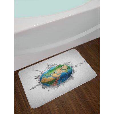Globe Blue Green Pale Brown Earth Bath Rug