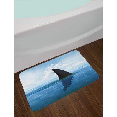 Shark Grey Violet and Pale Blue Shark Bath Rug