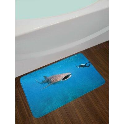 Giant Violet Blue Pale Grey Shark Bath Rug