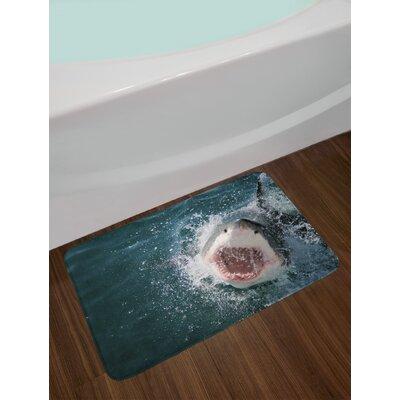 Wild Petrol Blue Grey White Shark Bath Rug