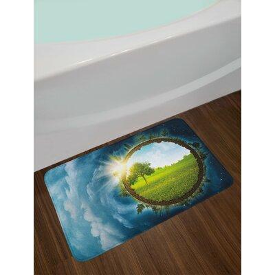 Circular Pale Green Brown Petrol Blue Earth Bath Rug