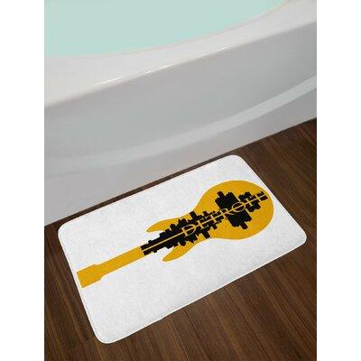 High Yellow Black Detroit Bath Rug