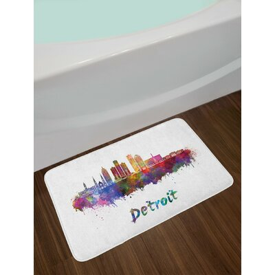 Artistic Multicolor Detroit Bath Rug
