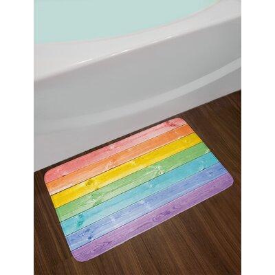 Wooden Multicolor Pastel Bath Rug