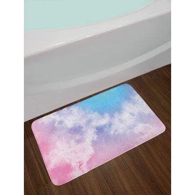 Fantasy Pale Pink Aqua White Pastel Bath Rug