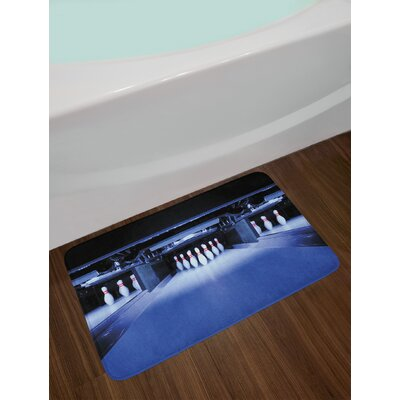 Symmetrical Blue White Red Bowling Party Bath Rug
