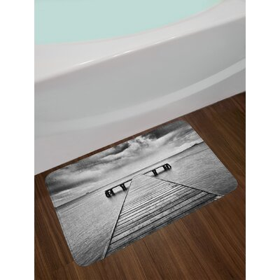 Old Black and White Black and White Bath Rug