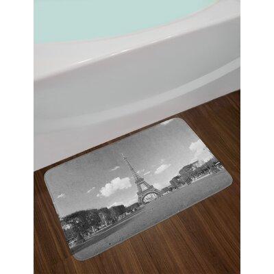 Famous Grey Eiffel Tower Bath Rug
