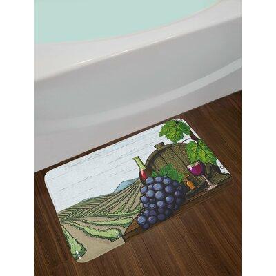 Landscape Multicolor Wine Bath Rug