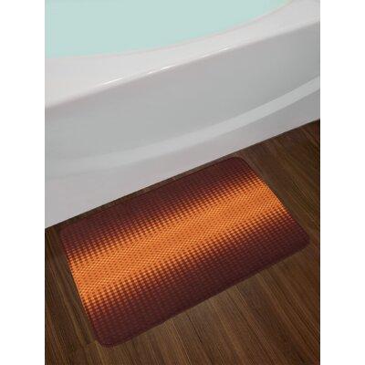Grid Dark Brown and Orange Checkered Bath Rug