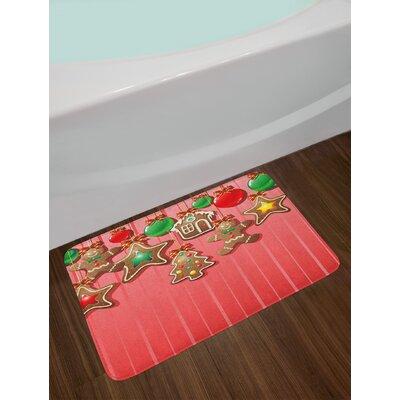 Christmas Multicolor Gingerbread Man Bath Rug