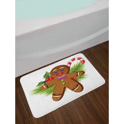 Cute Brown Green Red Gingerbread Man Bath Rug