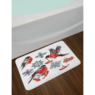 Christmas Scarlet Grey Black Rowan Bath Rug