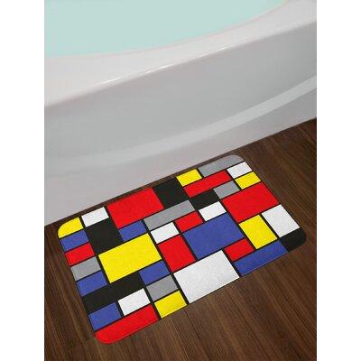 Mondrianesque Multicolor Art Bath Rug
