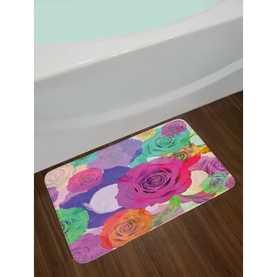 Lovely Magenta Turquoise Art Bath Rug
