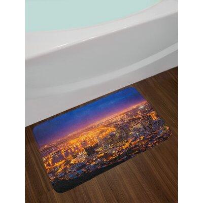 Cape Marigold Blue Pink City Bath Rug