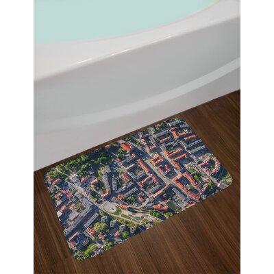 Aerial Salmon Grey Green City Bath Rug